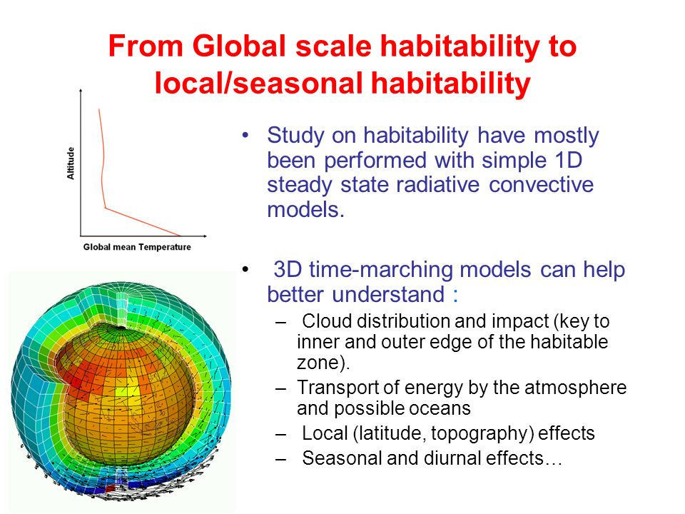 From Global scale habitability to local/seasonal habitability Study on habitability have mostly been performed with simple 1D steady state radiative c