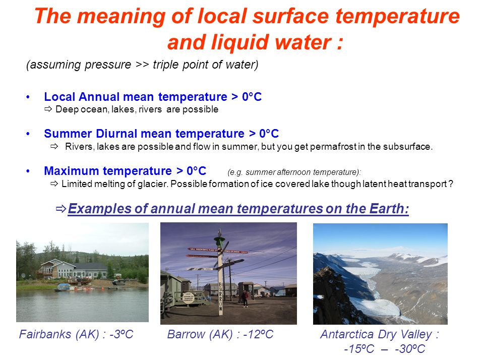 The meaning of local surface temperature and liquid water : (assuming pressure >> triple point of water) Local Annual mean temperature > 0°C Deep ocea