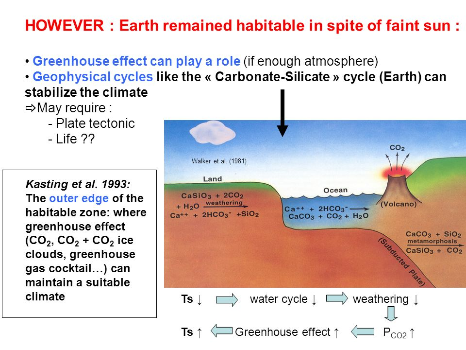 HOWEVER : Earth remained habitable in spite of faint sun : Greenhouse effect can play a role (if enough atmosphere) Geophysical cycles like the « Carb
