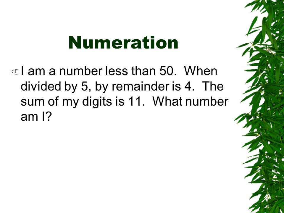 Numeration I am a number less than 50. When divided by 5, by remainder is 4.