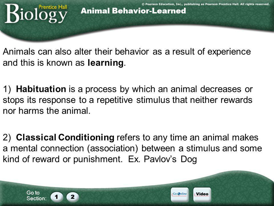 Go to Section: Animal Behavior-Learned Animals can also alter their behavior as a result of experience and this is known as learning. 1) Habituation i