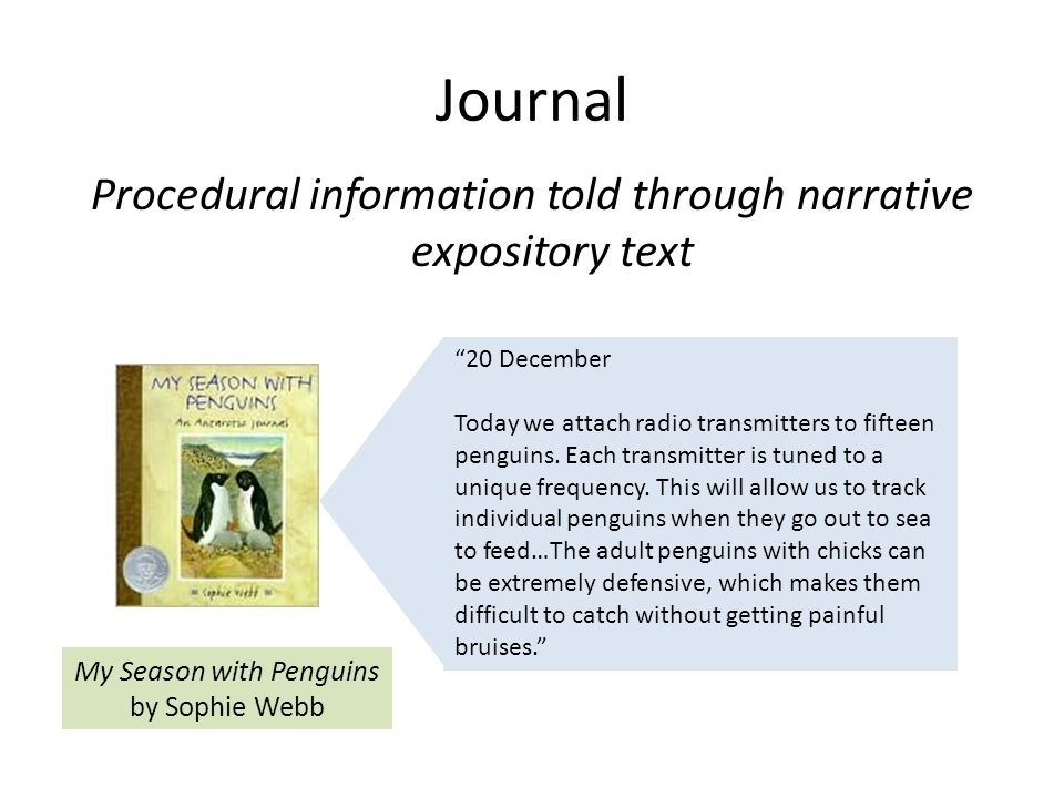 Journal Procedural information told through narrative expository text 20 December Today we attach radio transmitters to fifteen penguins.