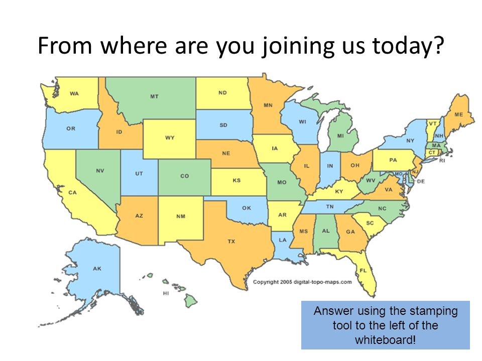 From where are you joining us today Answer using the stamping tool to the left of the whiteboard!