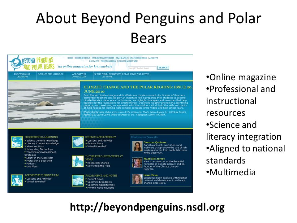 About Beyond Penguins and Polar Bears Online magazine Professional and instructional resources Science and literacy integration Aligned to national standards Multimedia http://beyondpenguins.nsdl.org