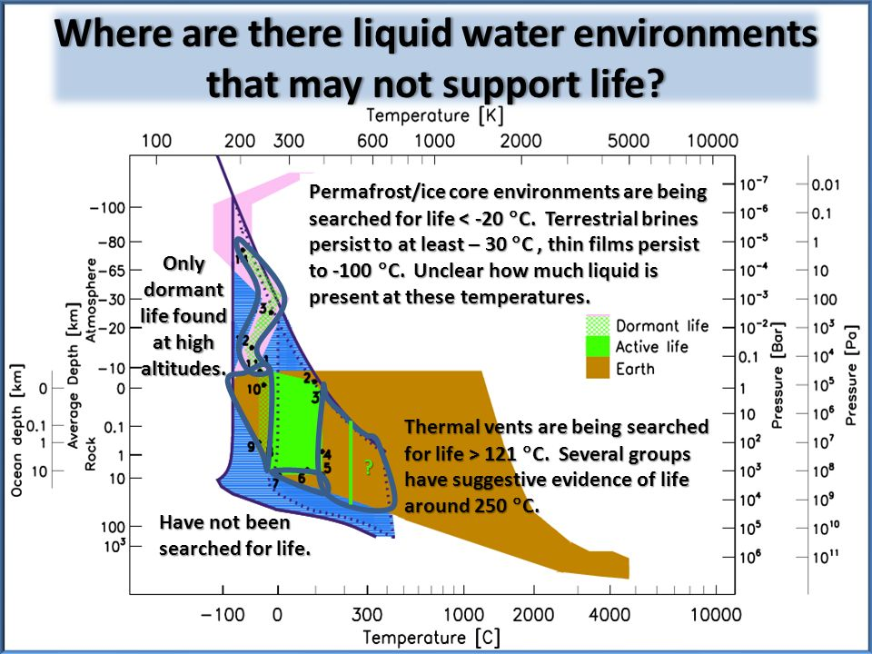 Where are there liquid water environments that may not support life.