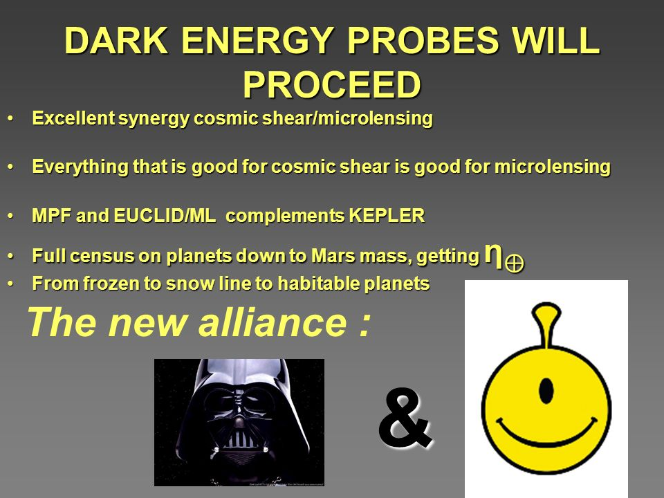 DARK ENERGY PROBES WILL PROCEED Excellent synergy cosmic shear/microlensingExcellent synergy cosmic shear/microlensing Everything that is good for cosmic shear is good for microlensingEverything that is good for cosmic shear is good for microlensing MPF and EUCLID/ML complements KEPLERMPF and EUCLID/ML complements KEPLER Full census on planets down to Mars mass, getting ηFull census on planets down to Mars mass, getting η From frozen to snow line to habitable planetsFrom frozen to snow line to habitable planets The new alliance : &