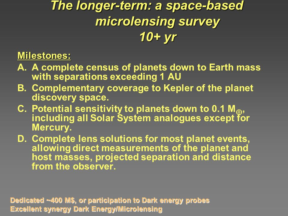 The longer-term: a space-based microlensing survey 10+ yr Milestones: A.A complete census of planets down to Earth mass with separations exceeding 1 AU B.Complementary coverage to Kepler of the planet discovery space.