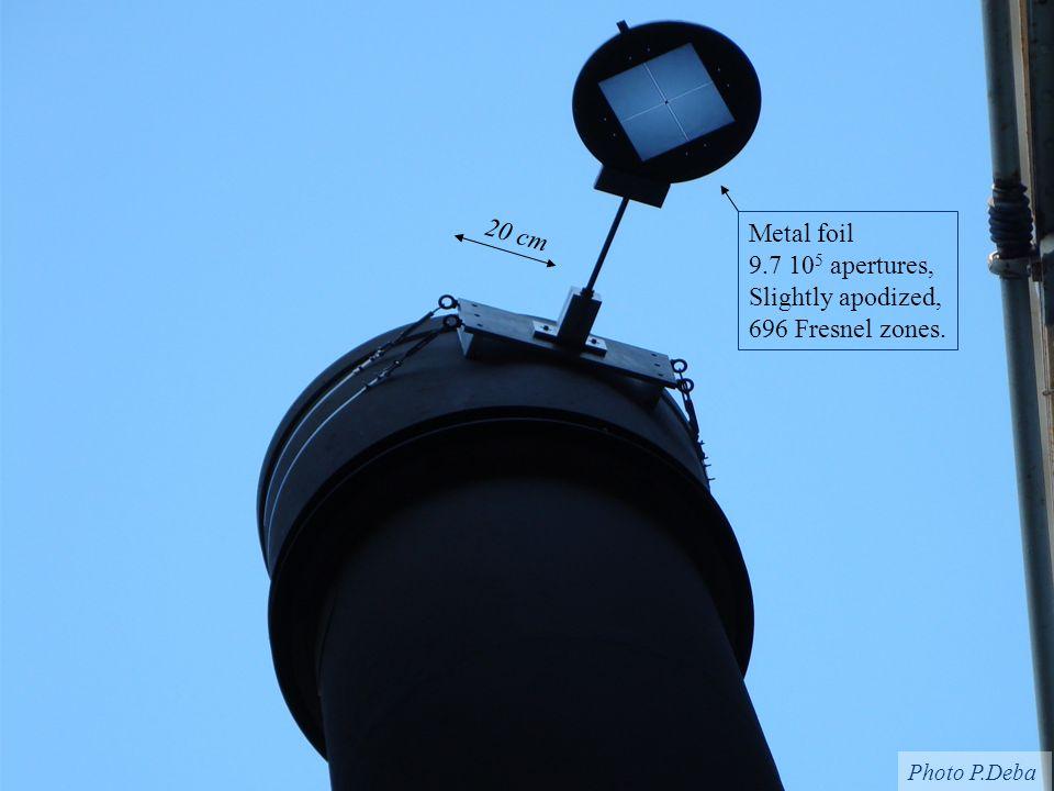 The Fresnel Imager for Exoplanet Study, Pathways to Habitable Planets BarcelonaSeptember 17, 200913 Metal foil 9.7 10 5 apertures, Slightly apodized,