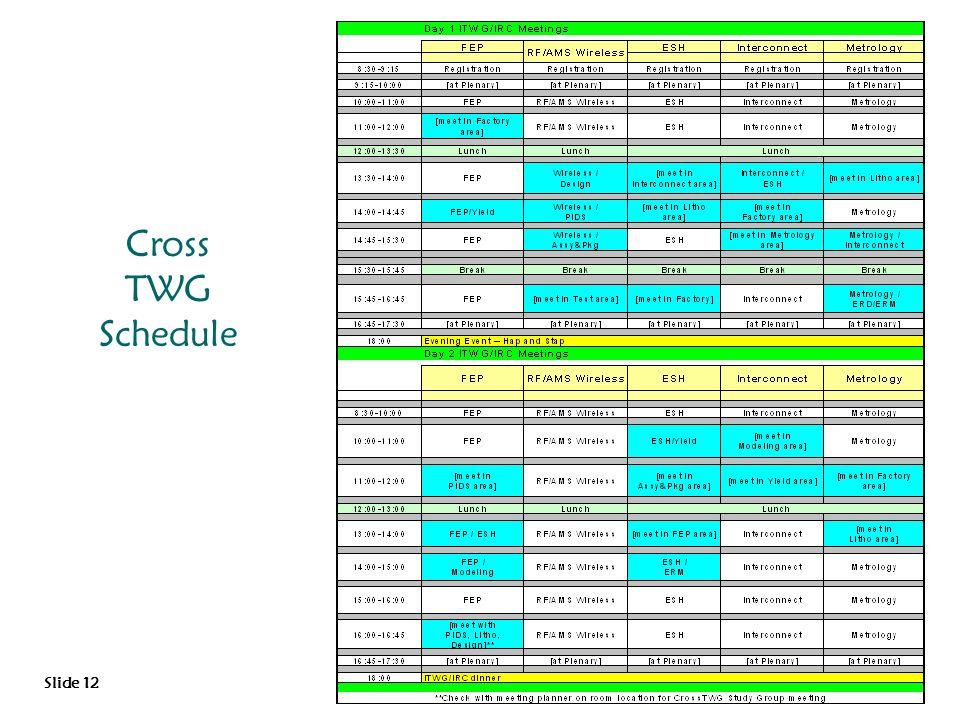 Cross TWG Schedule Slide 12