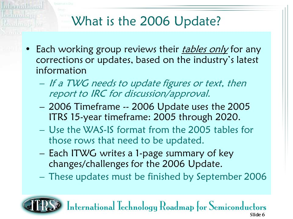 Slide 6 What is the 2006 Update? Each working group reviews their tables only for any corrections or updates, based on the industrys latest informatio