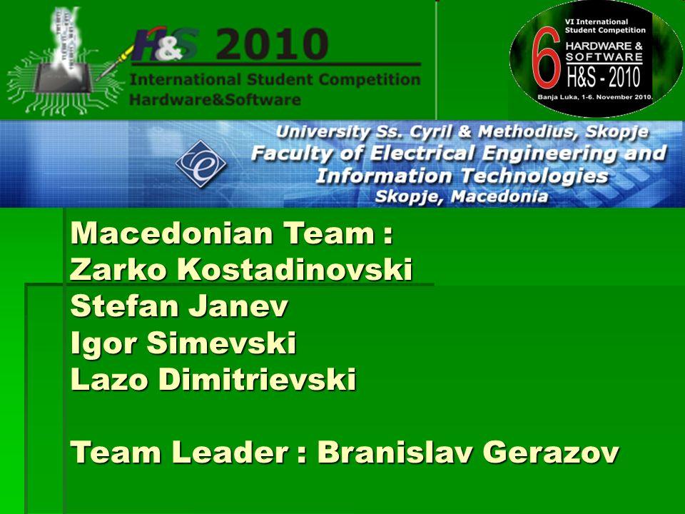 Macedonian Team : Zarko Kostadinovski Stefan Janev Igor Simevski Lazo Dimitrievski Team Leader : Branislav Gerazov