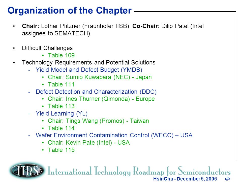4 HsinChu - December 5, Organization of the Chapter Chair: Lothar Pfitzner (Fraunhofer IISB) Co-Chair: Dilip Patel (Intel assignee to SEMATECH) Difficult Challenges Table 109 Technology Requirements and Potential Solutions -Yield Model and Defect Budget (YMDB) Chair: Sumio Kuwabara (NEC) - Japan Table 111 -Defect Detection and Characterization (DDC) Chair: Ines Thurner (Qimonda) - Europe Table 113 -Yield Learning (YL) Chair: Tings Wang (Promos) - Taiwan Table 114 -Wafer Environment Contamination Control (WECC) – USA Chair: Kevin Pate (Intel) - USA Table 115