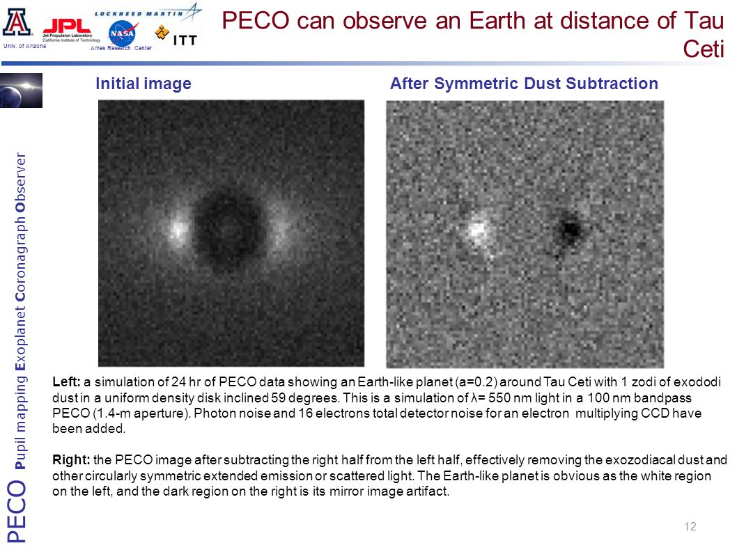 PECO Pupil mapping Exoplanet Coronagraph Observer Univ. of Arizona Ames Research Center PECO can observe an Earth at distance of Tau Ceti 12 Left: a s