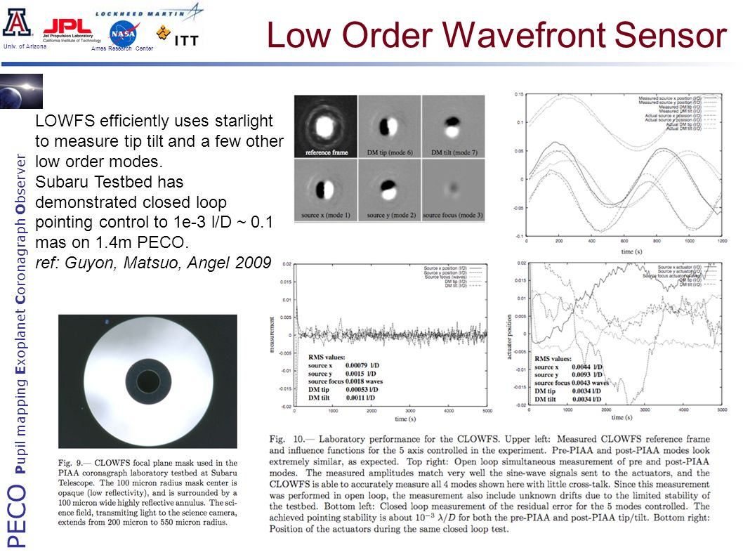 PECO Pupil mapping Exoplanet Coronagraph Observer Univ. of Arizona Ames Research Center Low Order Wavefront Sensor LOWFS efficiently uses starlight to
