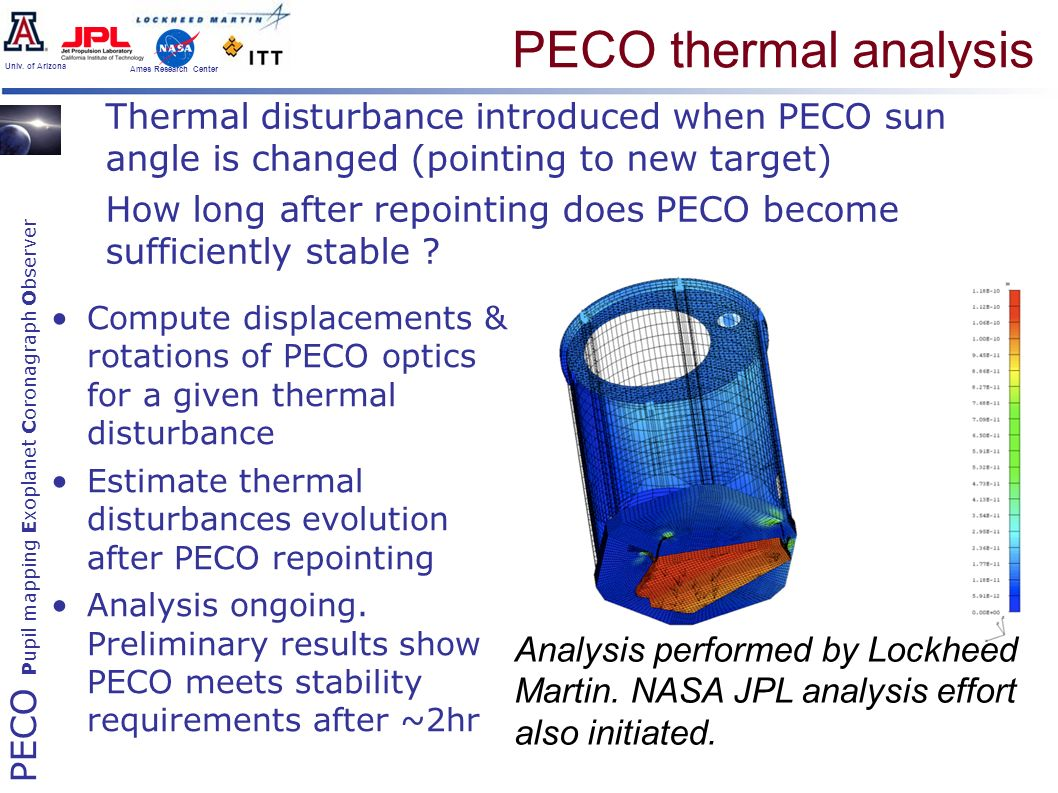 PECO Pupil mapping Exoplanet Coronagraph Observer Univ. of Arizona Ames Research Center PECO thermal analysis Thermal disturbance introduced when PECO