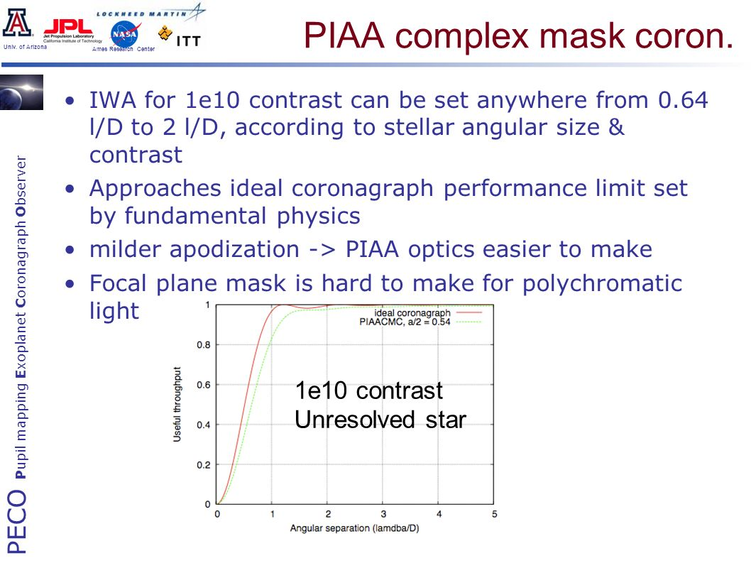 PECO Pupil mapping Exoplanet Coronagraph Observer Univ. of Arizona Ames Research Center PIAA complex mask coron. IWA for 1e10 contrast can be set anyw