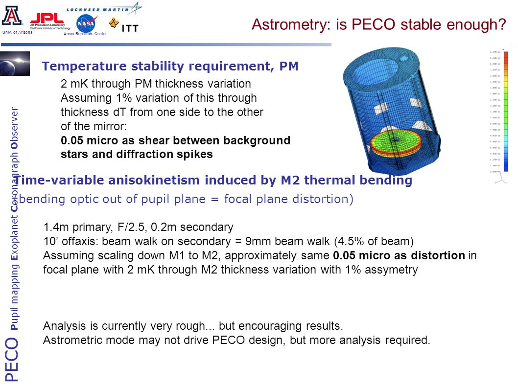 PECO Pupil mapping Exoplanet Coronagraph Observer Univ. of Arizona Ames Research Center Astrometry: is PECO stable enough? Temperature stability requi