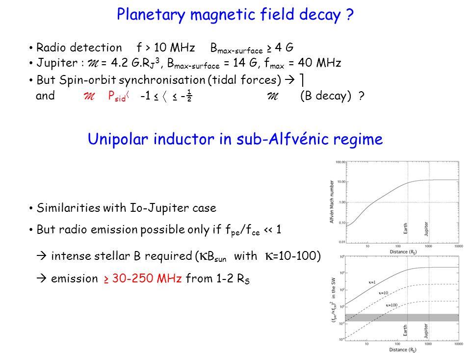[Zarka, 2007] Unipolar inductor in sub-Alfvénic regime Extrapolation / Radio-magnetic Bodes law P radio-max = P J 10 5 (R exo-ionosphere /R magnetosphere ) 2 (B star /B Sun ) 2 = up to P Radio-J 10 6 Algol magnetic binaries [Budding et al., 1998]