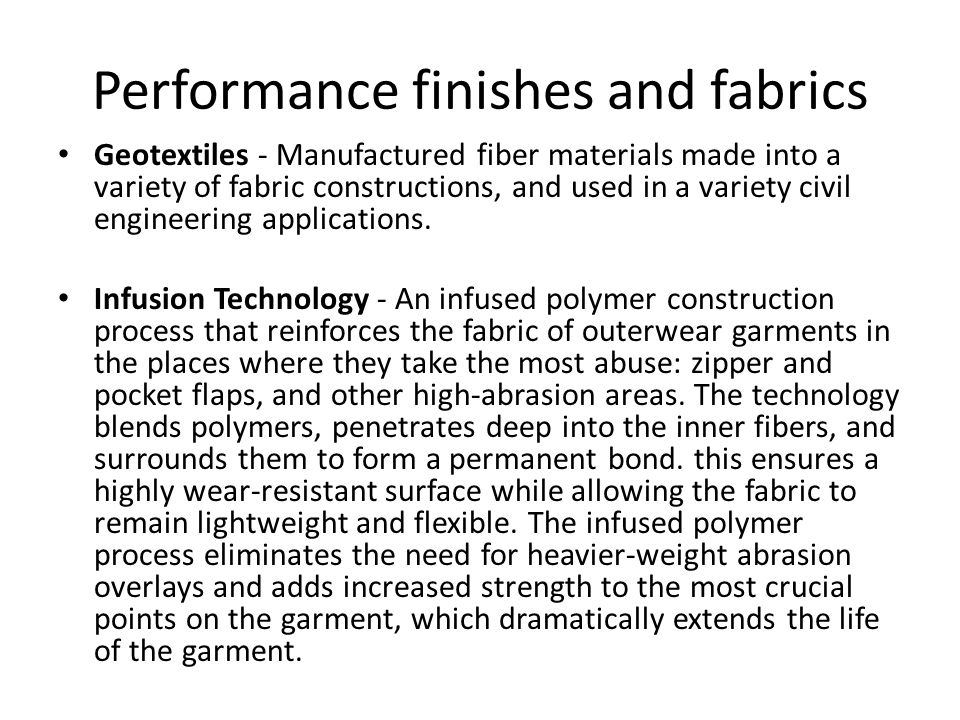 Performance finishes and fabrics Mercerization - A process of treating a cotton yarn or fabric, in which the fabric or yarn is immersed in a caustic soda solution and later neutralized in acid.