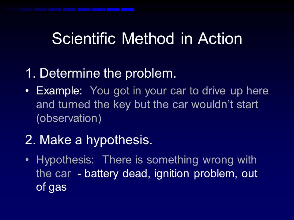 B. Scientific Method Hypothesis - testable prediction Theory - explanation of why –based on many observations & experimental results Scientific Law -