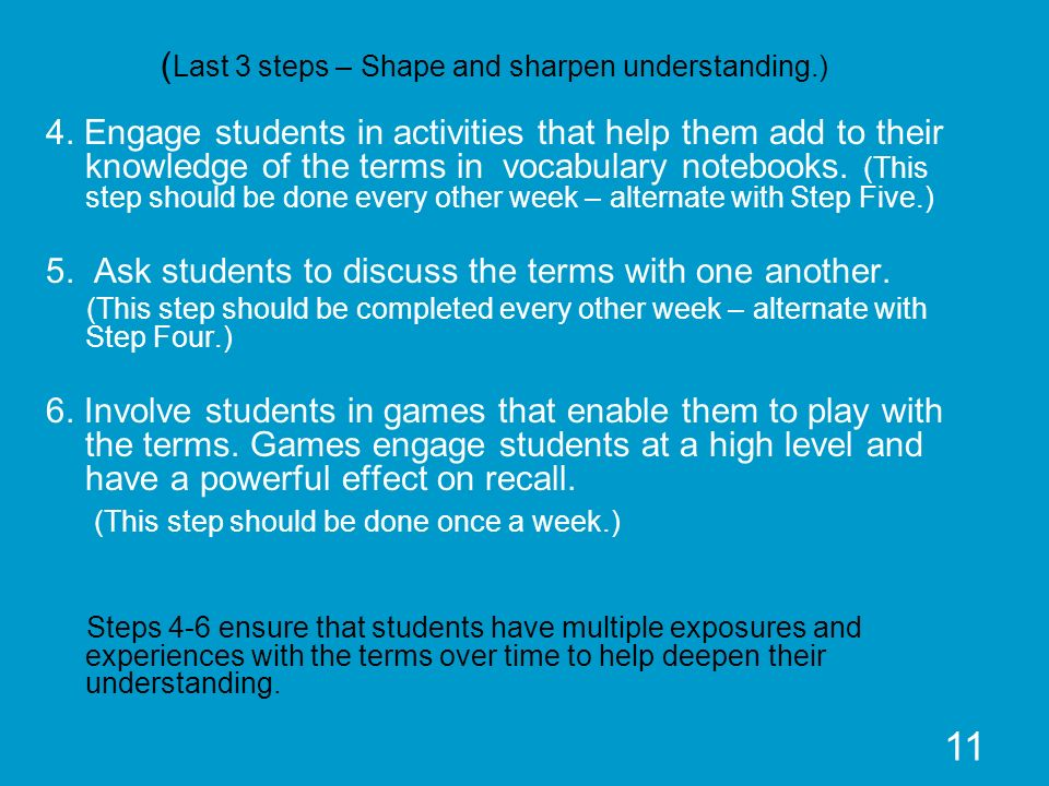 11 ( Last 3 steps – Shape and sharpen understanding.) 4. Engage students in activities that help them add to their knowledge of the terms in vocabular