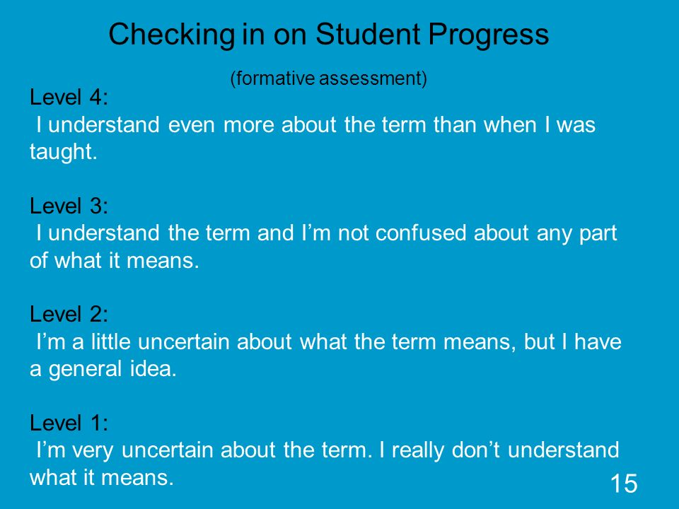 15 Checking in on Student Progress (formative assessment) Level 4: I understand even more about the term than when I was taught. Level 3: I understand