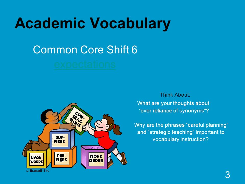 3 Academic Vocabulary Common Core Shift 6 expectations Think About: What are your thoughts about over reliance of synonyms? Why are the phrases carefu