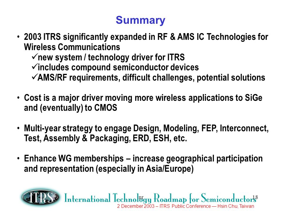 2 December 2003 – ITRS Public Conference Hsin Chu, Taiwan nr18 2003 ITRS significantly expanded in RF & AMS IC Technologies for Wireless Communication