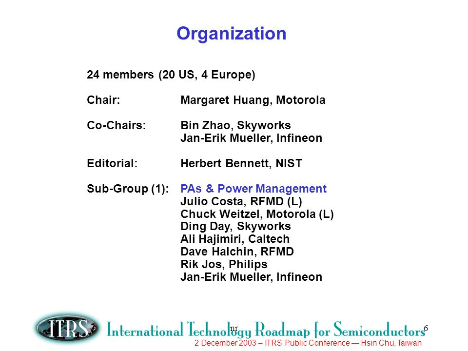 2 December 2003 – ITRS Public Conference Hsin Chu, Taiwan nr7 Sub-Group (2):RF Transceivers Marco Racanelli, Jazz (L) Peter Cottrell, IBM Ali Niknejad, UC Berkeley Sam Shichijo, TI Sub-Group (3):Analog & Mixed Signal Ralf Brederlow, Infineon (L) Margaret Huang, Motorola Sam Shichijo, TI Bin Zhao, Skyworks Sub-Group (4):Millimeter Wave (10-100GHz) Tony Immorlica, BAE Systems (L) Roger Van Art, Jazz Ronald Grundbacher, Northrop Grumman Tom Kazior, Raytheon Minh Le, Vitesse Michael Schlechtweg, Fraunhofer Institute Jeff Shealy, RFMD John Zolper, DARPA Organization