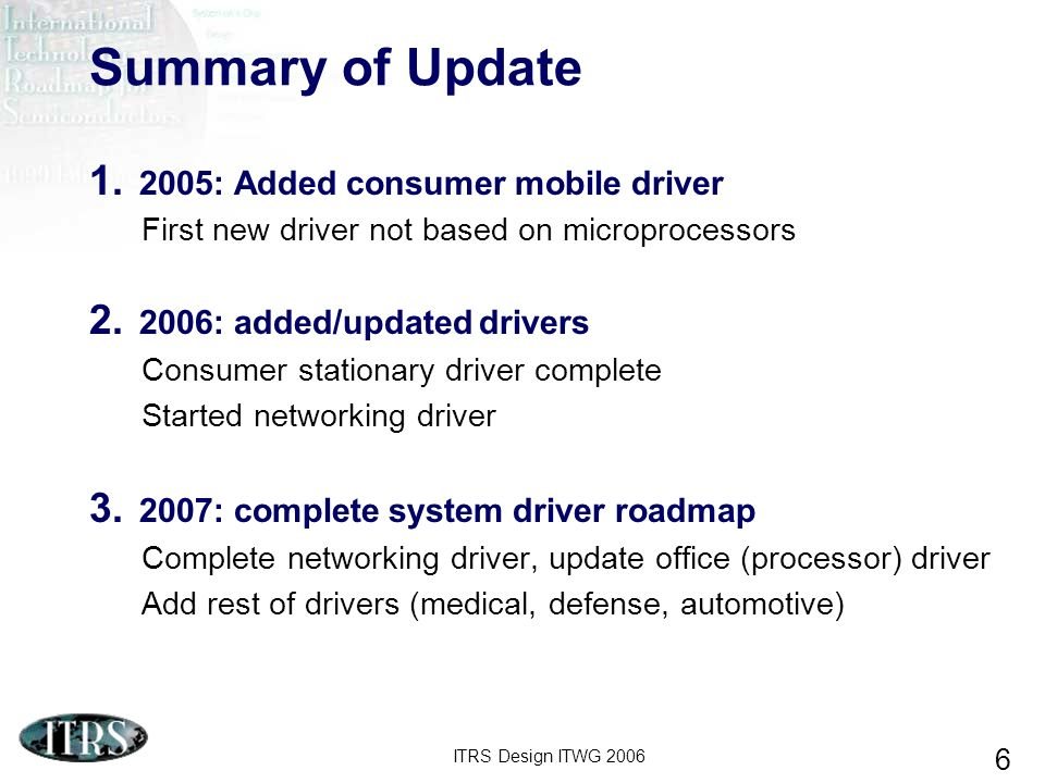 ITRS Design ITWG 2006 17 Design Trend: Power Consumption – SOC Total 600W SOC total power consumption rapidly increases