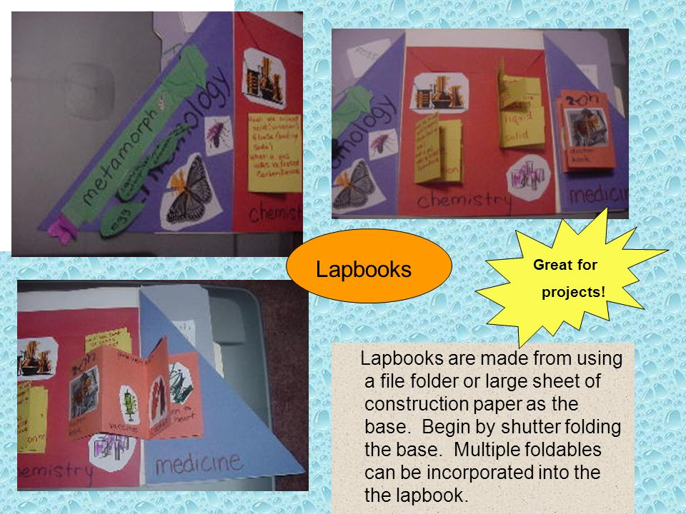 Lapbooks Lapbooks are made from using a file folder or large sheet of construction paper as the base. Begin by shutter folding the base. Multiple fold