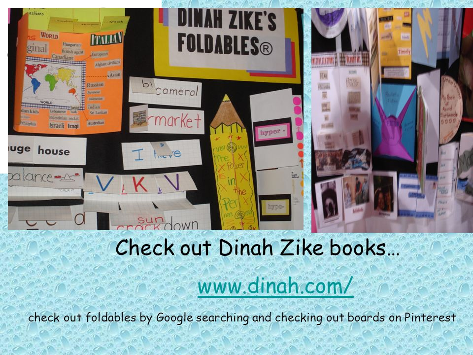 Check out Dinah Zike books… www.dinah.com/ check out foldables by Google searching and checking out boards on Pinterest