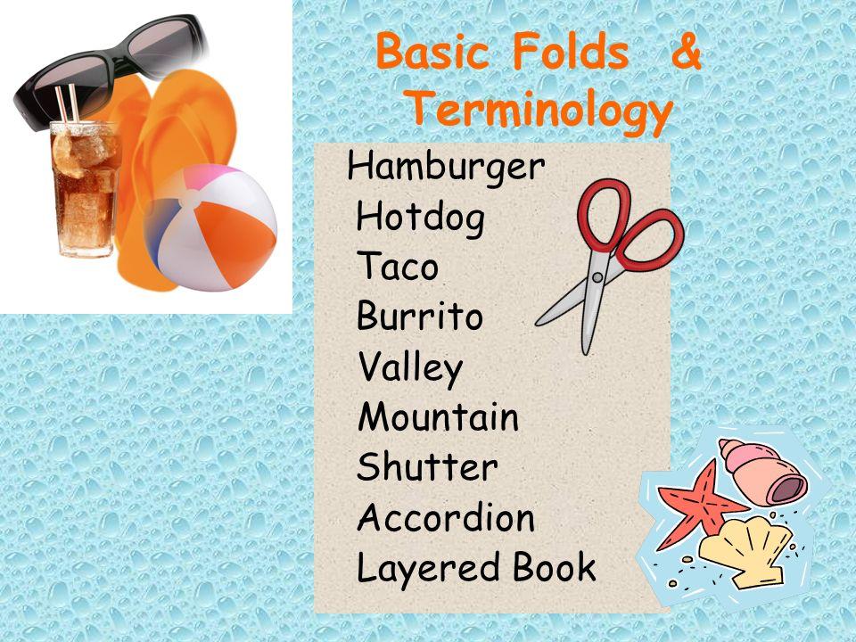 Basic Folds & Terminology Hamburger Hotdog Taco Burrito Valley Mountain Shutter Accordion Layered Book