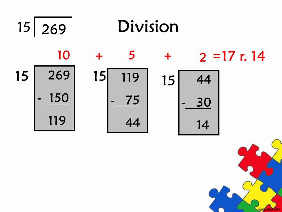 Division 269 - 150 119 - 75 44 - 30 14 15 269 15 10 15 5 2 ++ 17 r. 14 =