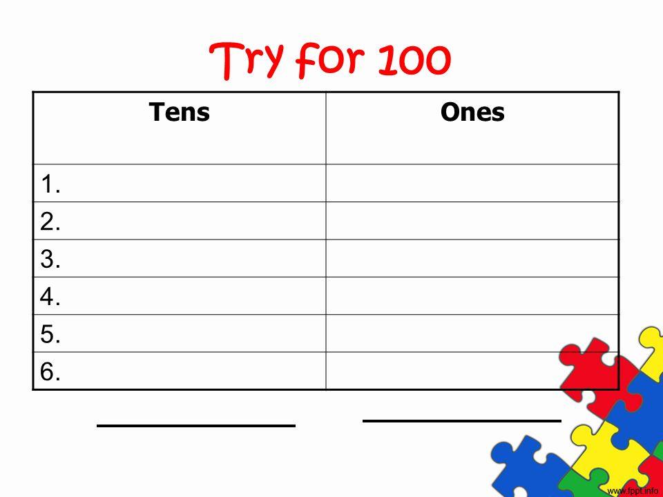 Try for 100 TensOnes 1. 2. 3. 4. 5. 6.