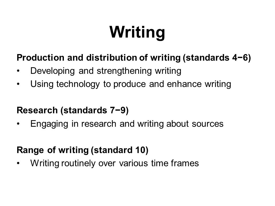 Writing Production and distribution of writing (standards 46) Developing and strengthening writing Using technology to produce and enhance writing Res