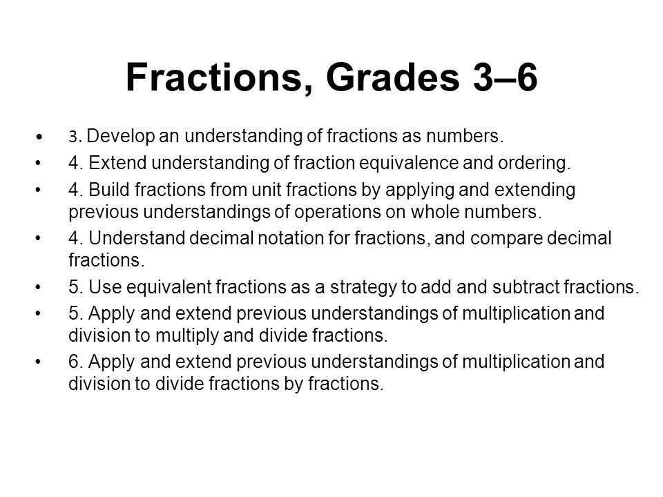 Fractions, Grades 3–6 3. Develop an understanding of fractions as numbers. 4. Extend understanding of fraction equivalence and ordering. 4. Build frac