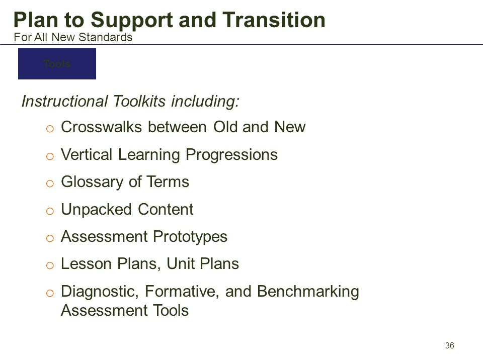 Plan to Support and Transition Instructional Toolkits including: o Crosswalks between Old and New o Vertical Learning Progressions o Glossary of Terms
