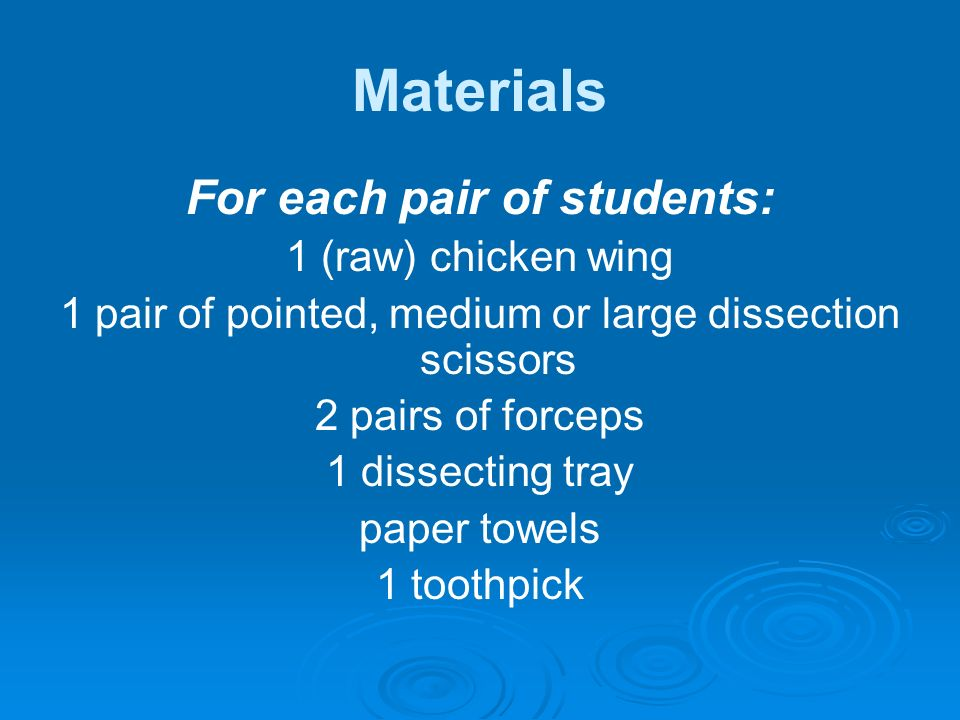 Materials For each pair of students: 1 (raw) chicken wing 1 pair of pointed, medium or large dissection scissors 2 pairs of forceps 1 dissecting tray