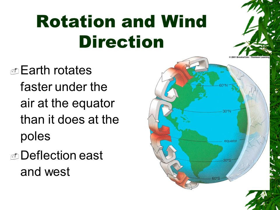 Rotation and Wind Direction Earth rotates faster under the air at the equator than it does at the poles Deflection east and west