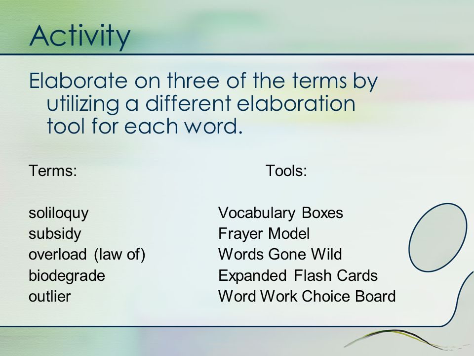 Activity Elaborate on three of the terms by utilizing a different elaboration tool for each word.