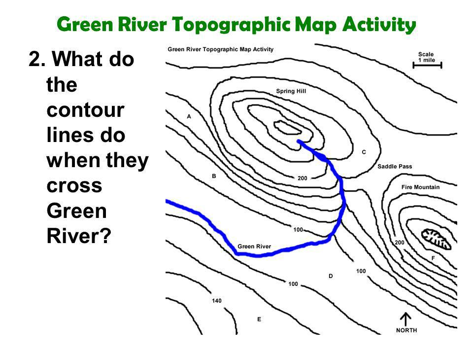 Green River Topographic Map Activity 2. What do the contour lines do when they cross Green River?