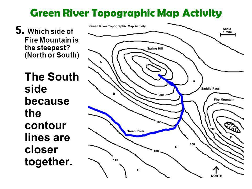 Green River Topographic Map Activity 5. Which side of Fire Mountain is the steepest? (North or South) The South side because the contour lines are clo