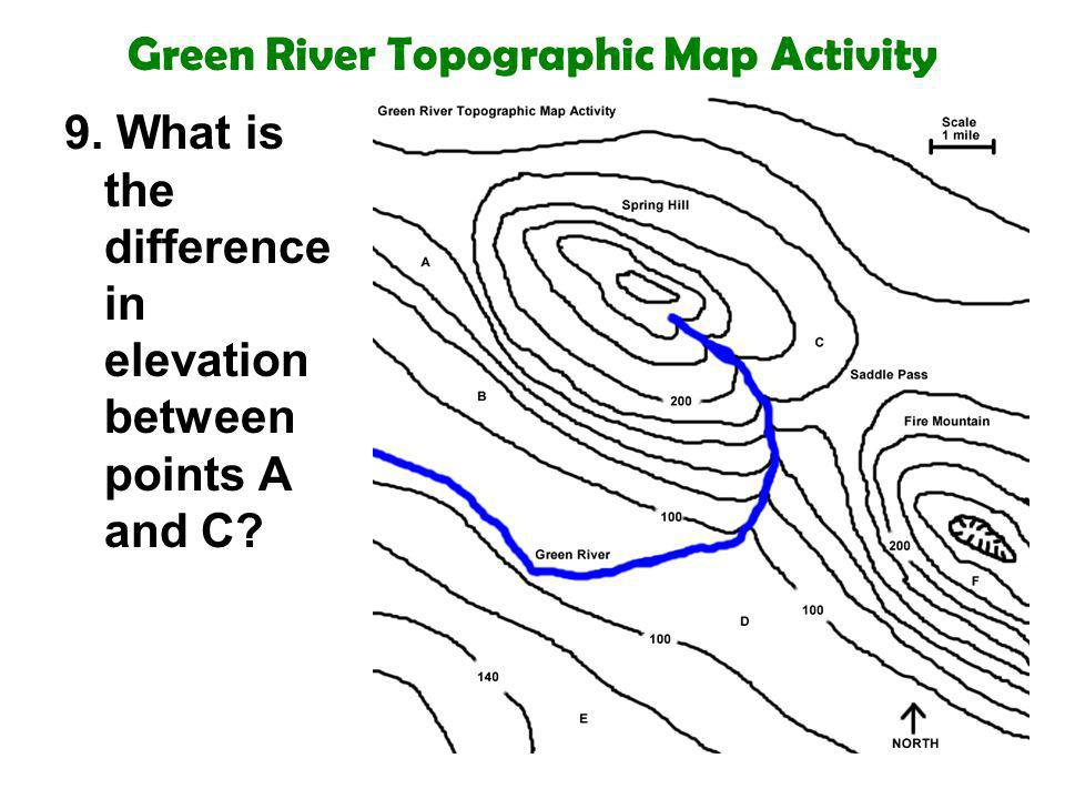 Green River Topographic Map Activity 9. What is the difference in elevation between points A and C?