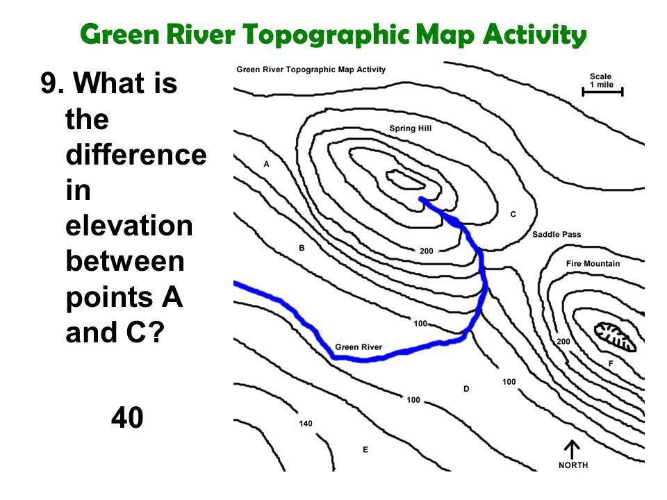 Green River Topographic Map Activity 9. What is the difference in elevation between points A and C? 40