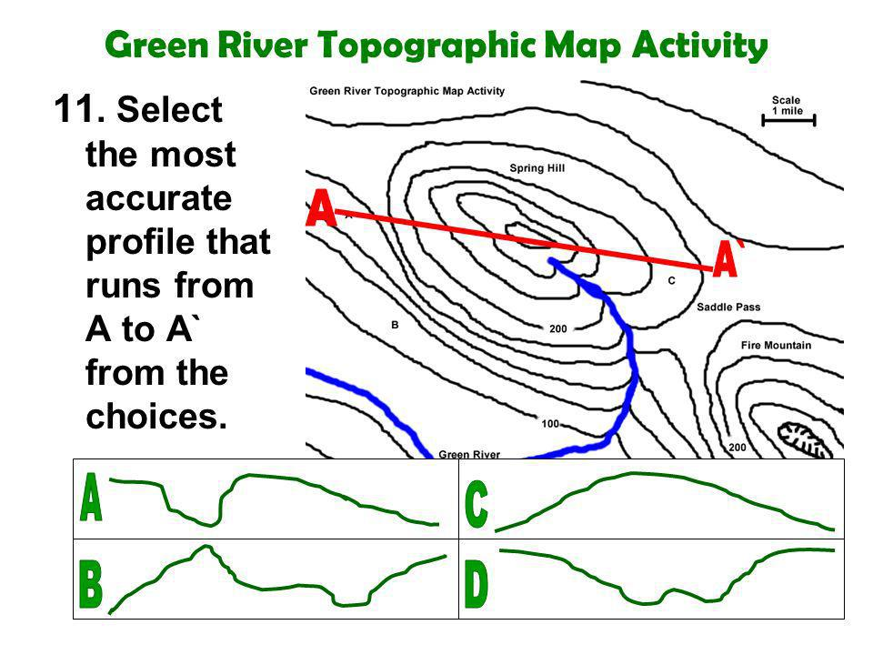 Green River Topographic Map Activity 11. Select the most accurate profile that runs from A to A` from the choices.