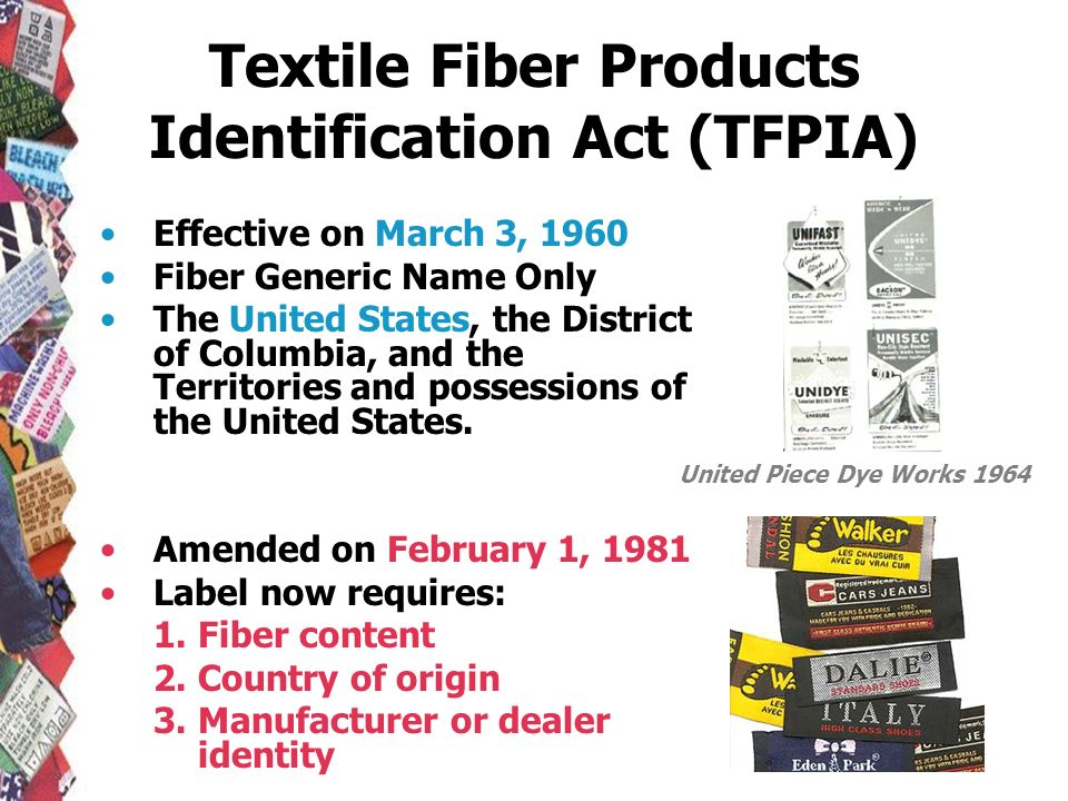 Textile Fiber Products Identification Act (TFPIA) Effective on March 3, 1960 Fiber Generic Name Only The United States, the District of Columbia, and