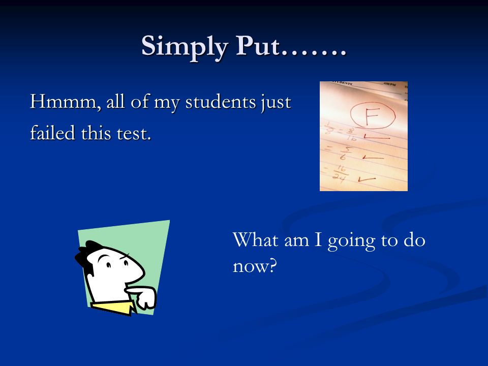 Simply Put……. Hmmm, all of my students just failed this test. What am I going to do now