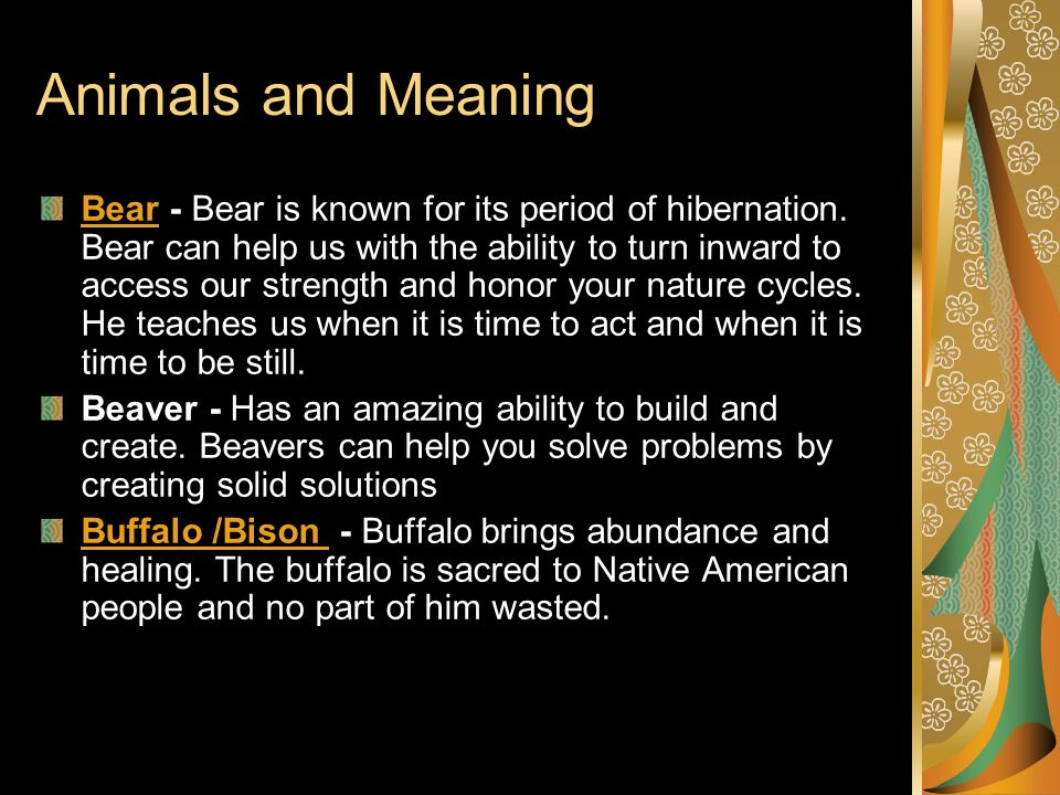 Animals and Meaning BearBear - Bear is known for its period of hibernation. Bear can help us with the ability to turn inward to access our strength an