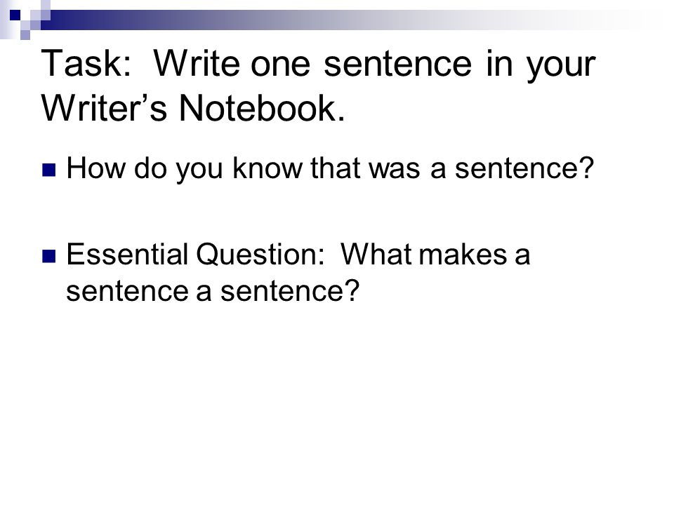 Task: Write one sentence in your Writers Notebook. How do you know that was a sentence? Essential Question: What makes a sentence a sentence?